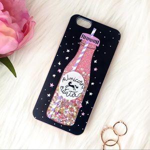 Accessories - NWT iPhone 6 6s Unicorn Water Glitter Phone Case